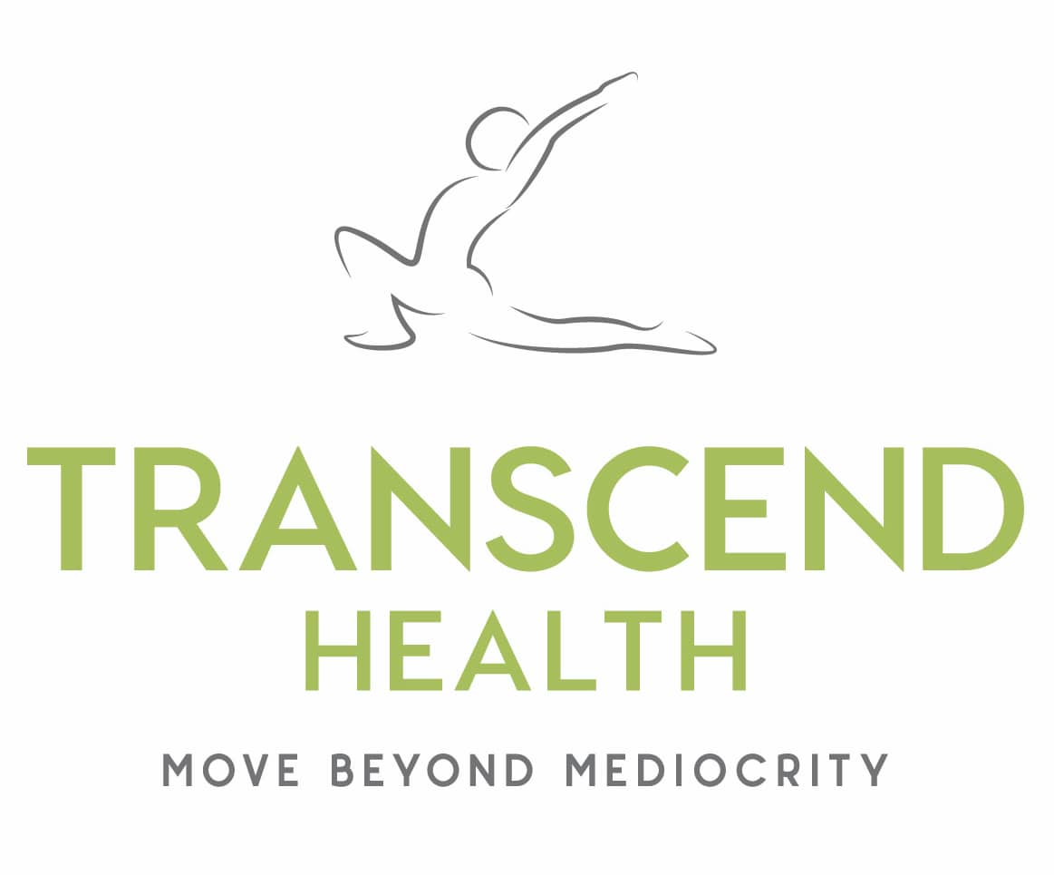 Transcend Health Logo Person stretching with green writing move beyond mediocrity