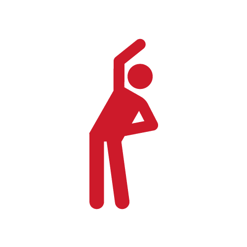 red icon of person bending