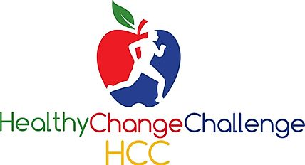 healthy change challenge logo with a runner icon on an apple